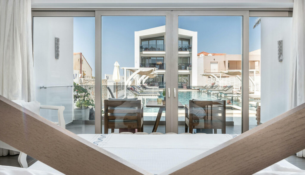 Platanias Ariston resort in Chania- hotels and suites in Chania- Interior area with view
