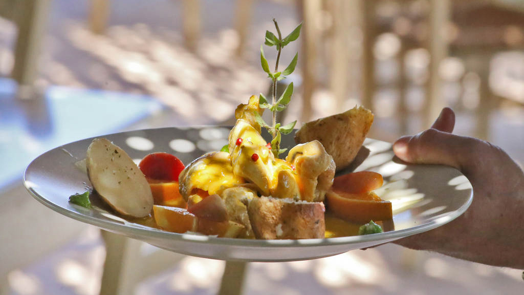 Cretan Diet and Cuisine in Chania- Dish with potatoes and aromatic Cretan Herbs